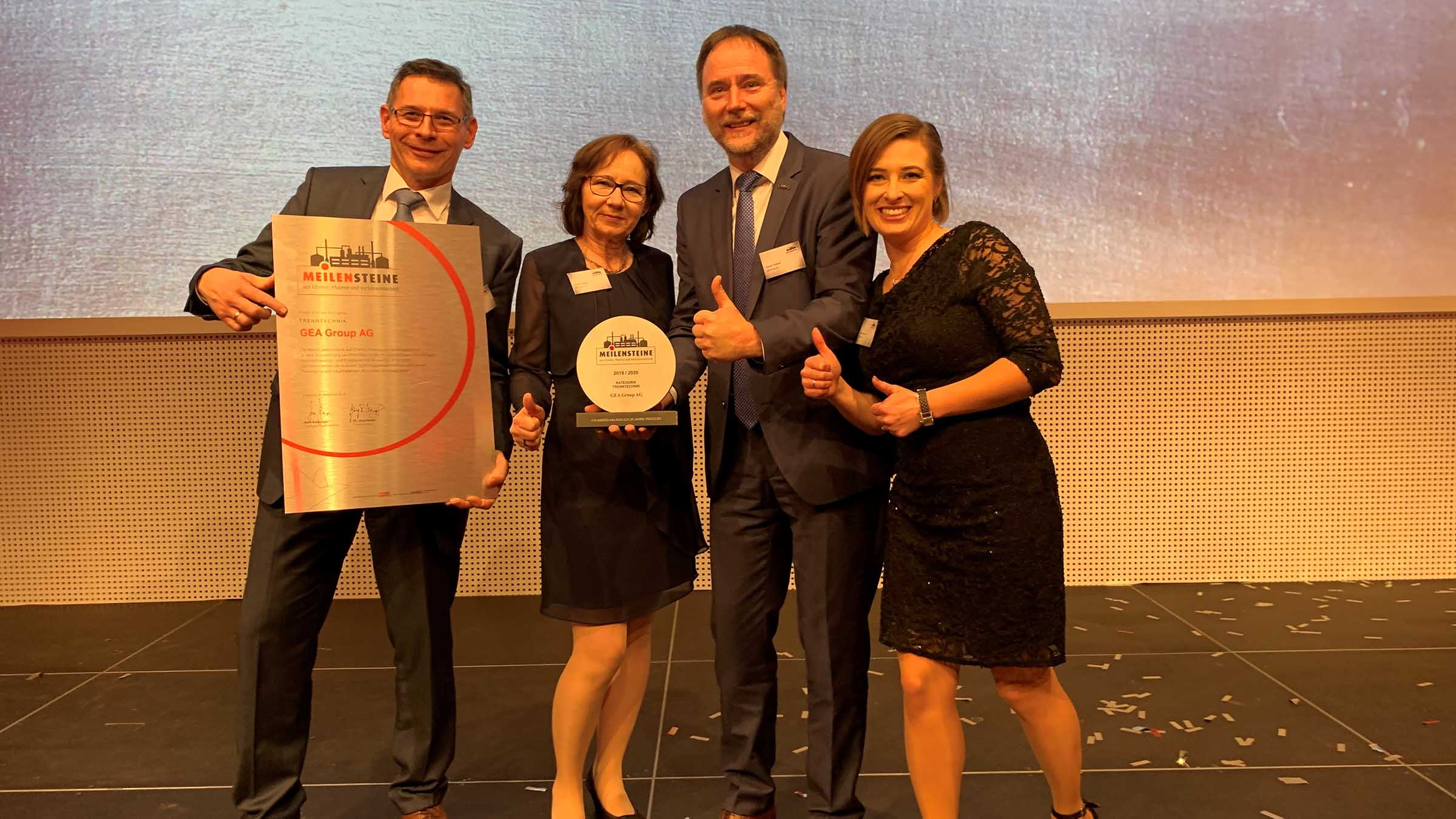 The GEA delegation at the award ceremony in Augsburg with Alexander Lange, Andrea Heuser, Norbert Strieder and Katharina Schulz are delighted with the award from GEA. (Photo: GEA)