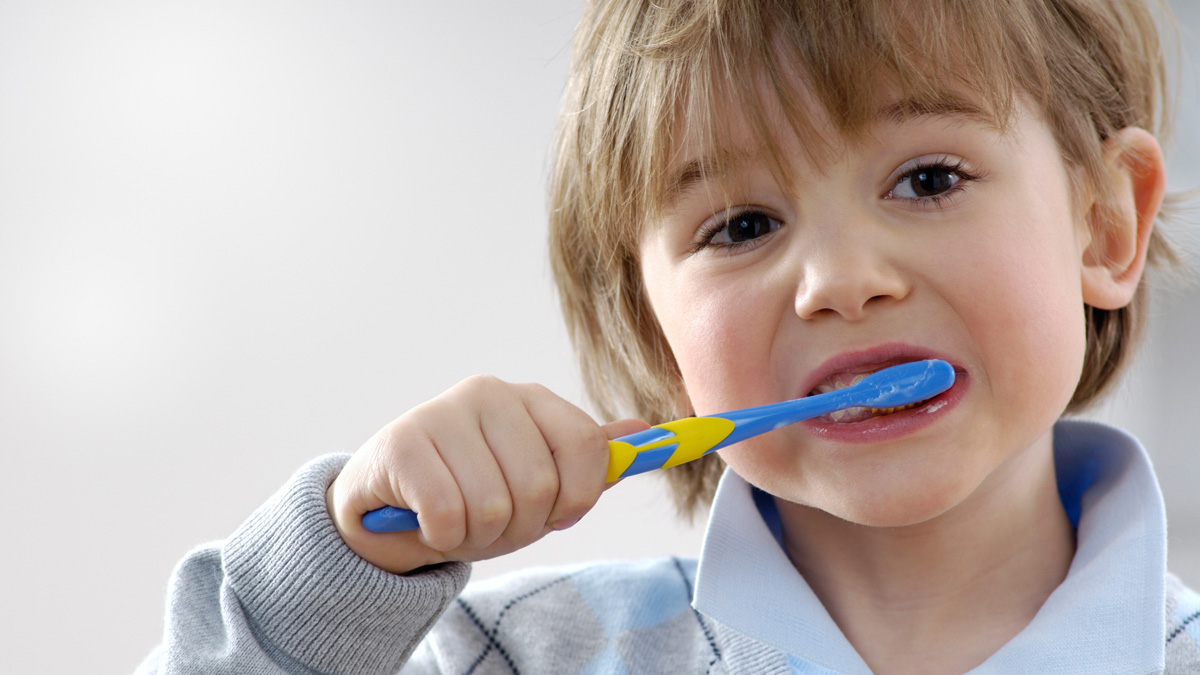 Oral Care - Brushing Teeth with Toothpaste