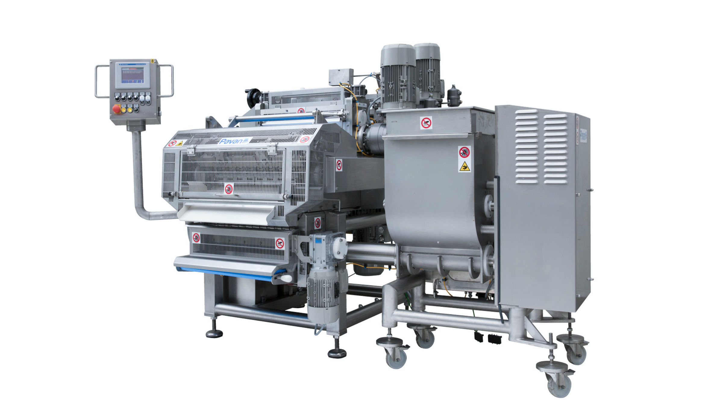 MRD540 single sheet filling and forming machine for fresh pasta with a lobe pump for filling dosage (Photo Pavan/GEA)