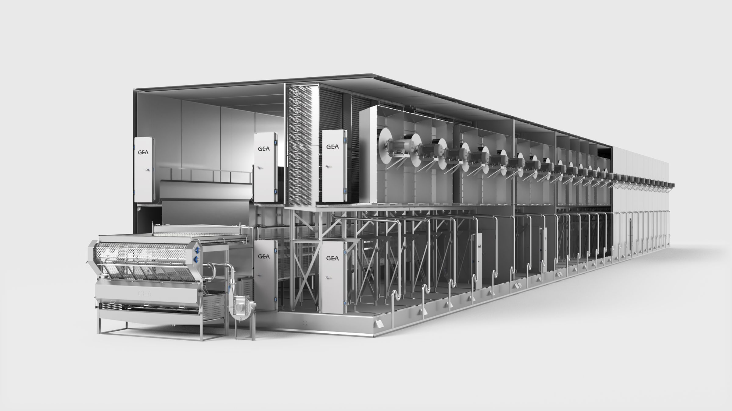 GEA AD-series tunnel freezer with external fan motors
