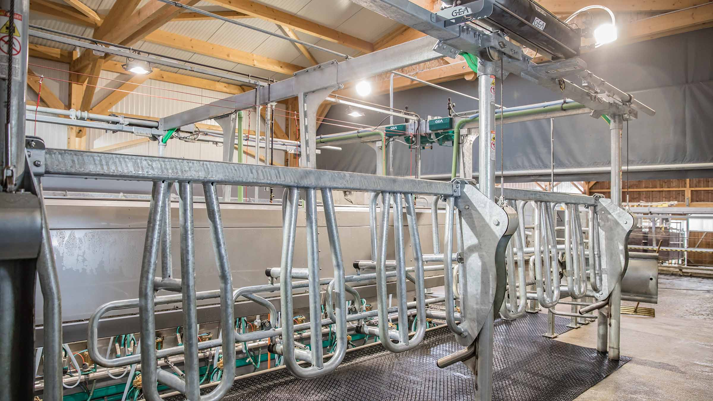 GEA DairyParlor P7550 vl vertical lift side-by-side conventional milking parlor exit gate