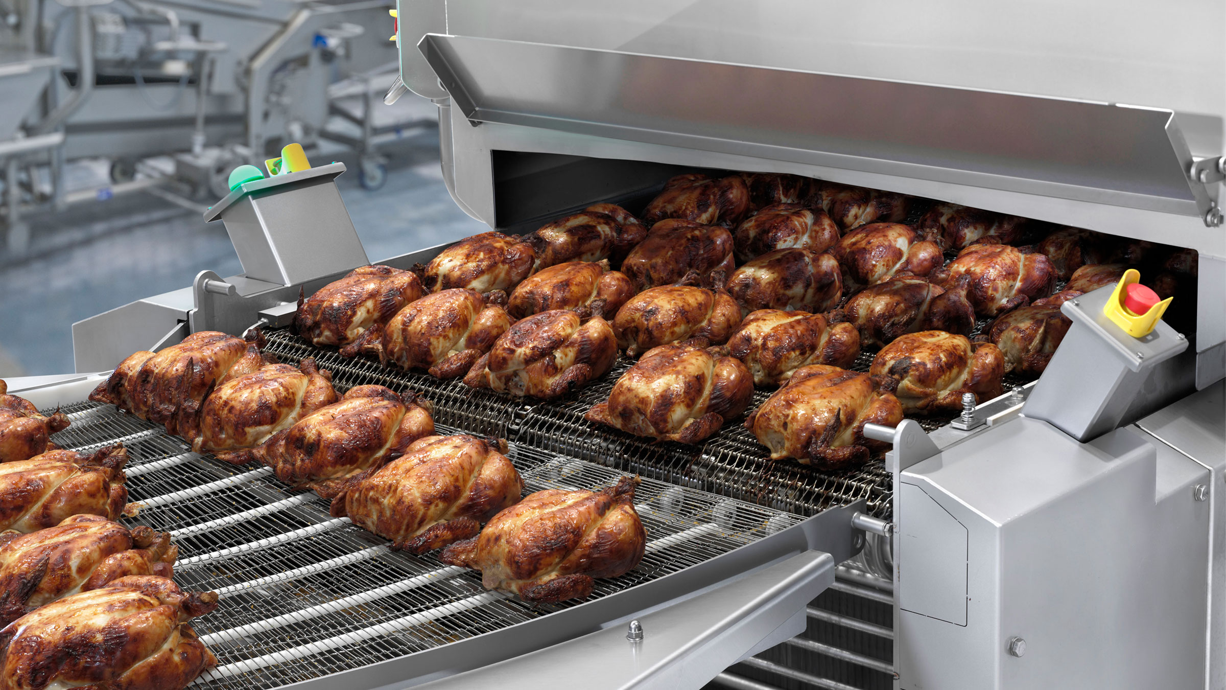 Roasted whole chickens on CookStar 1000 Gen 3 industrial oven