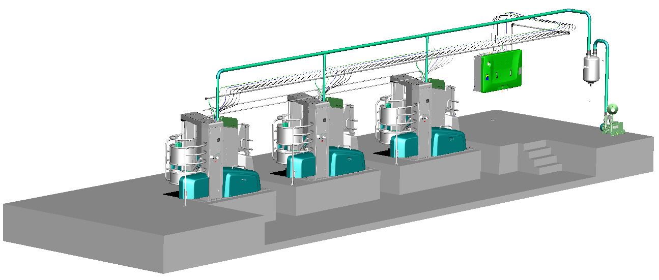 The multi-box configuration with expanded functionalities consists of up to three boxes that share one supply unit, vacuum pump, compressor, milk and calf milk line and tank connection. (Image: GEA)