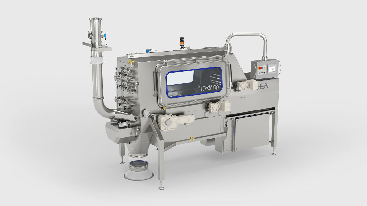 The new HYGiTip from GEA with fully automatic, hygienic discharging system for 25kg bags (Photo: GEA)