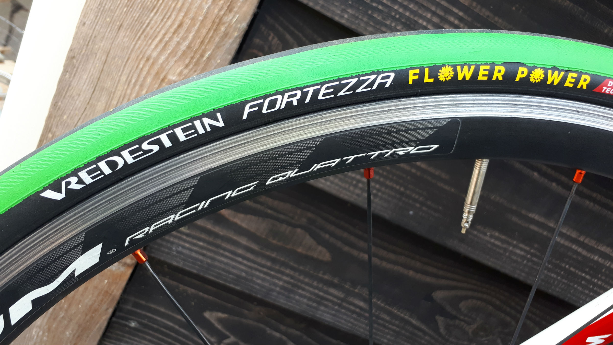 Fortezza Flower Power prototype bicycle tire produced by Vredestein (Apollo Tyres) from rubber extracted using GEA milling and decanter technology. The tires are showing promising performance in tests, for example in grip, compared to traditional compounds.