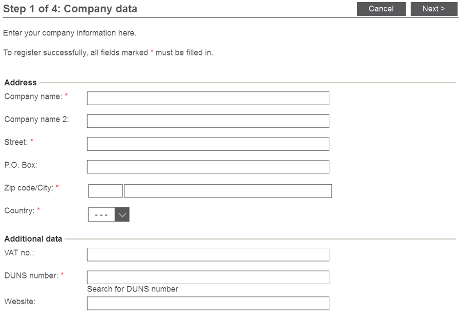 Enter company data