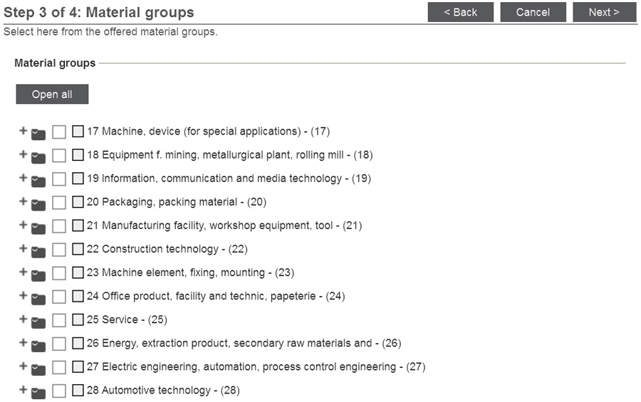 Choose the material groups you would like to supply and confirm your input