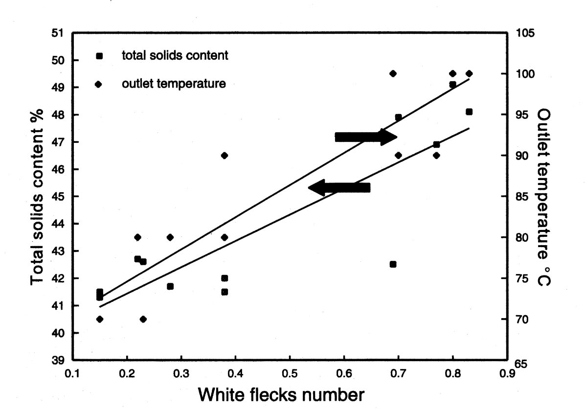Influence of outlet temperature and solids content on White Flecks Number (acc. to Ruyck)