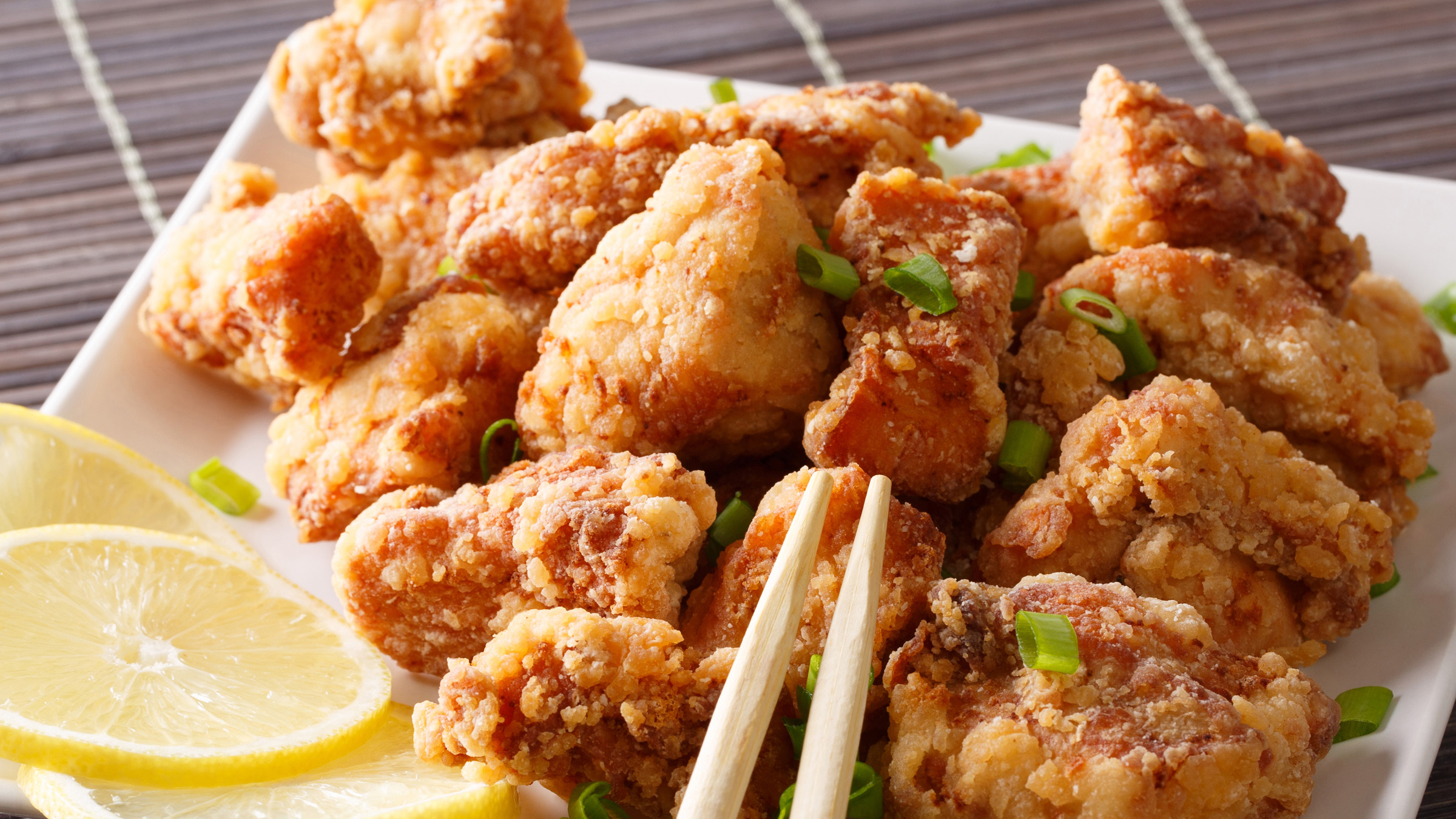 Karaage chopsticks lemon