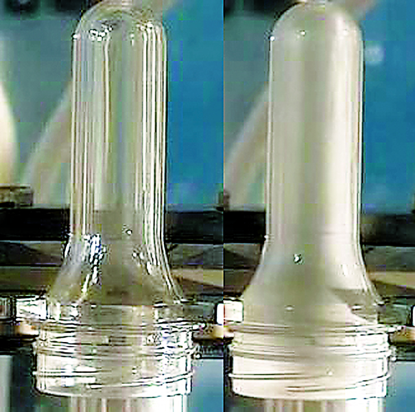 A preform before and after CHP treatment