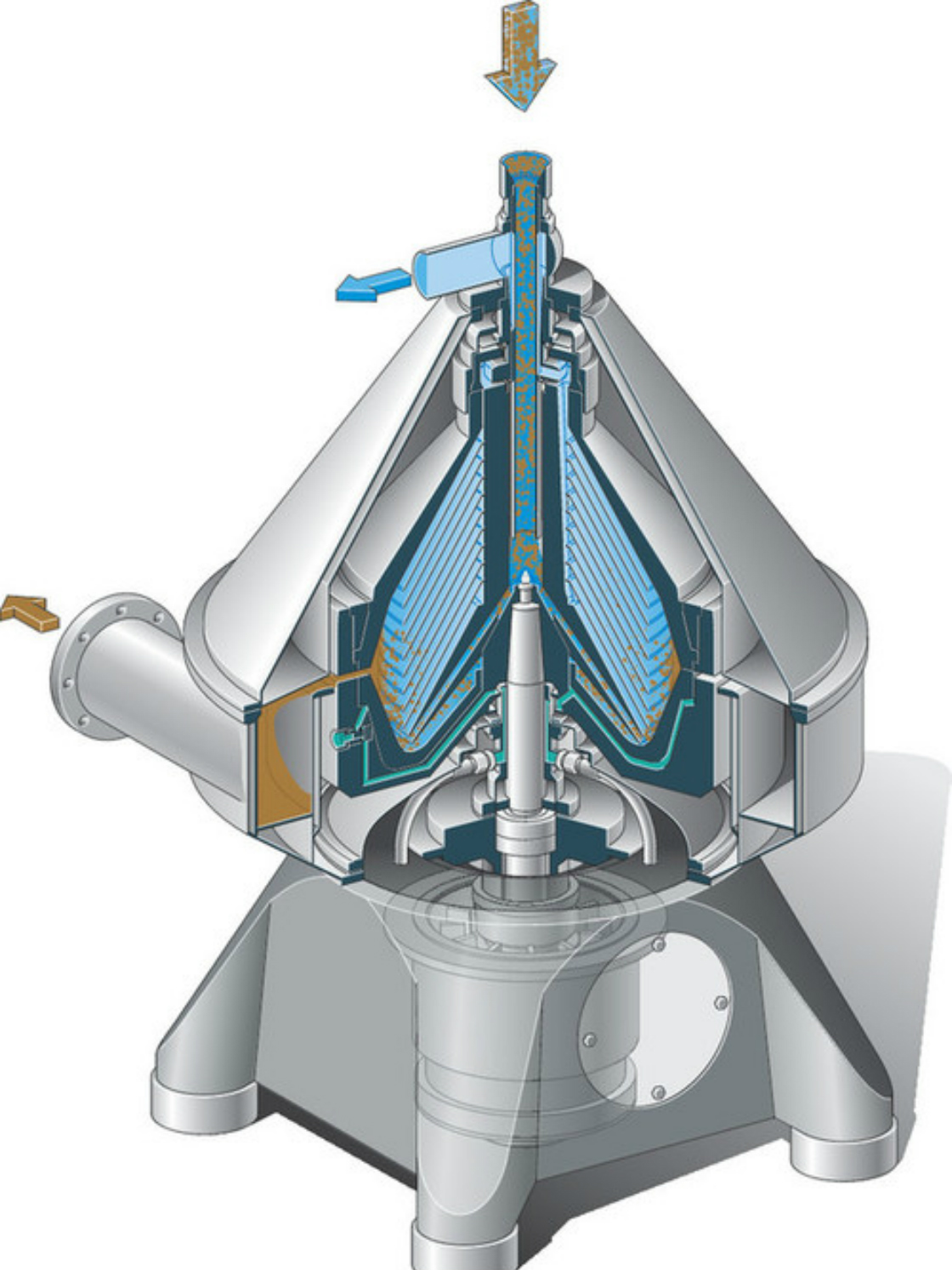Cross-section view of a GEA separator showing liquid flow pattern, including discharge system.