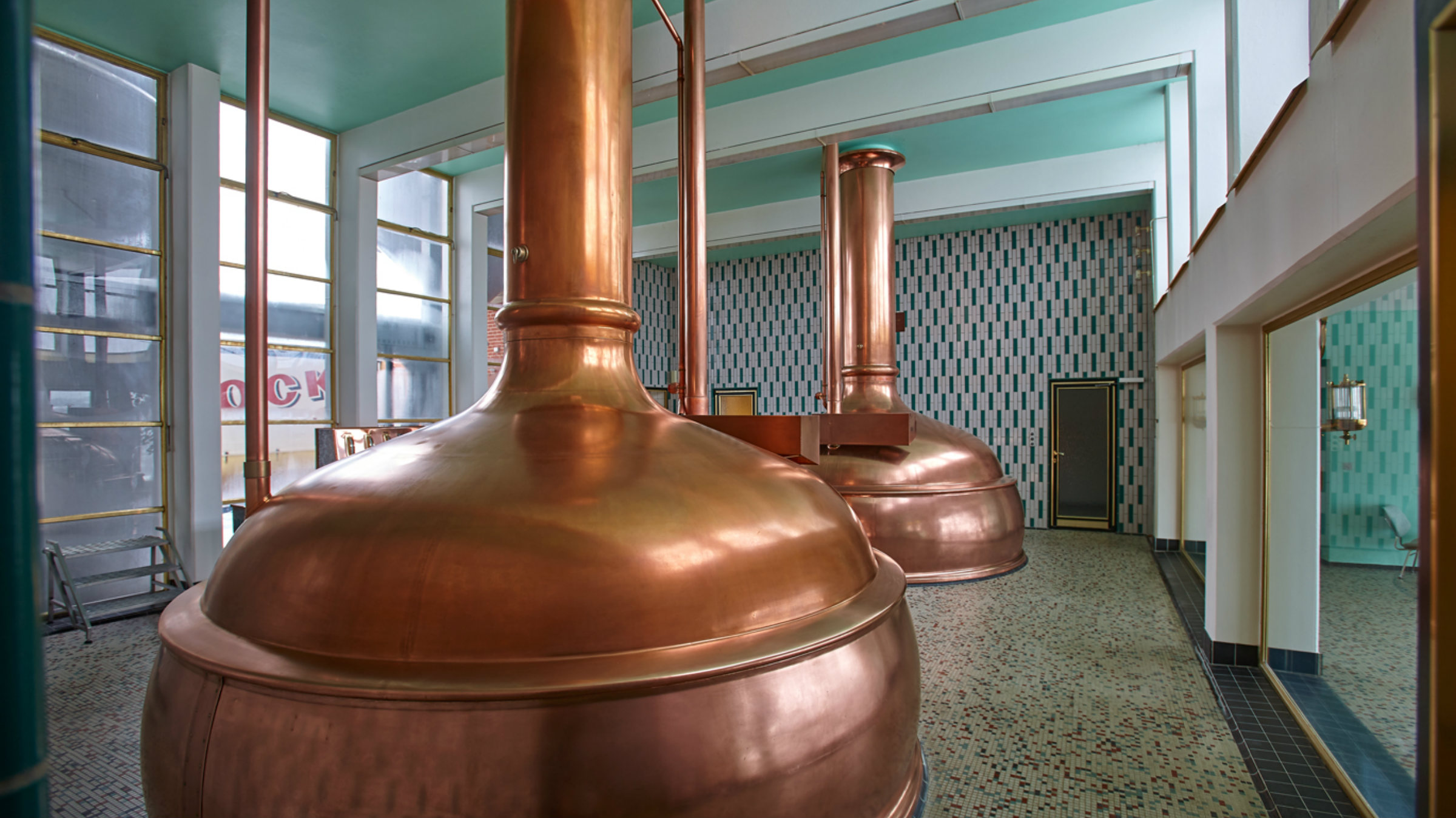 Copper kettles in the Hancock Brewery (Hancock Bryggerierne), built by Huppmann in 1962 and still in use today, Skive, Denmark.