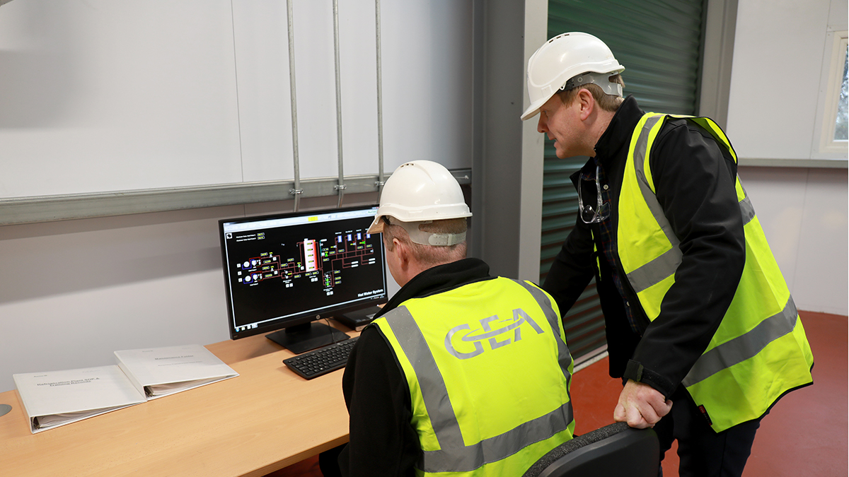 GEA's Paul McEntee (right) at the Aurvio Killygordon site.