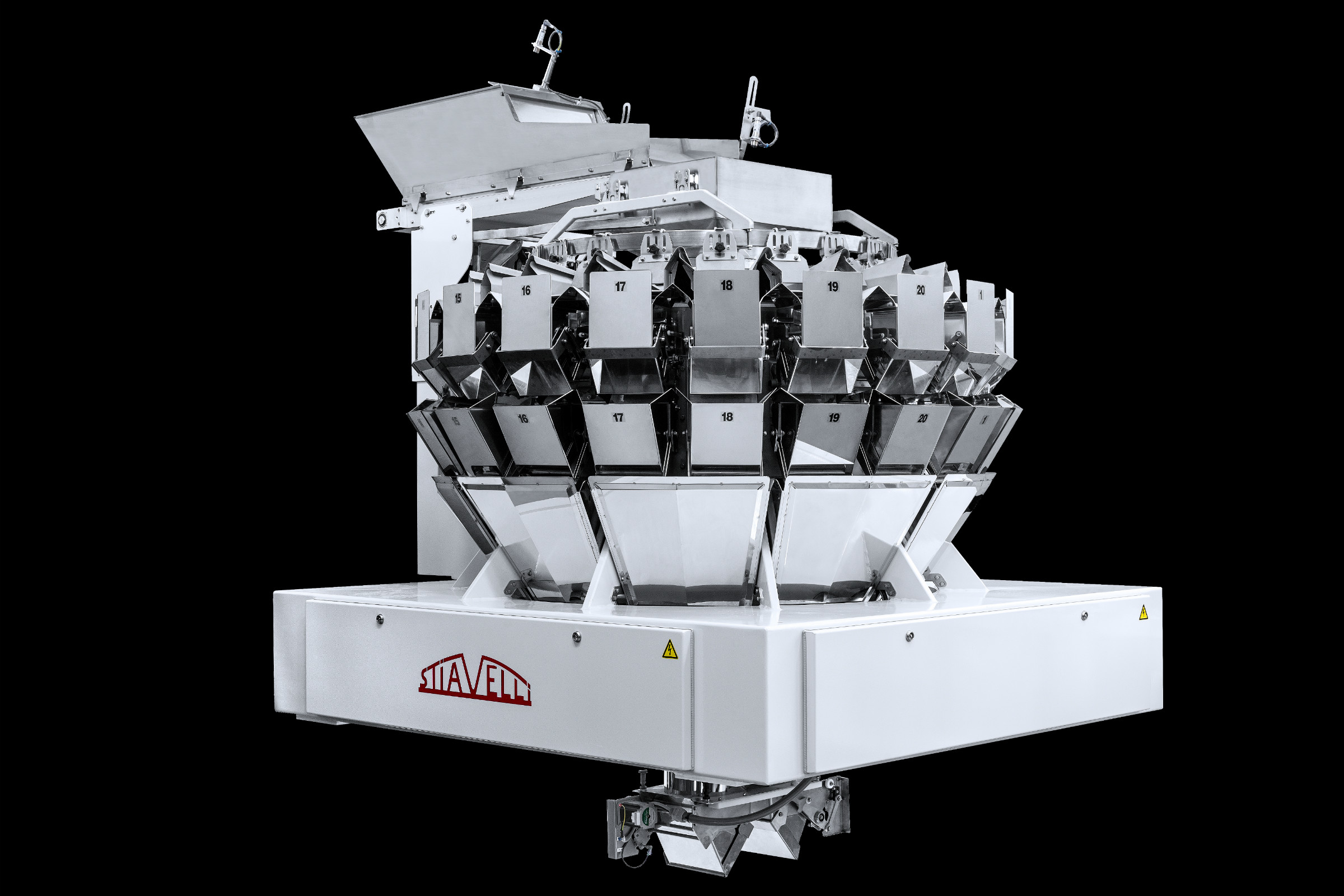 The Stiavelli SPC20 weigher is equipped with 20 hoppers. (Photo Pavan/GEA)