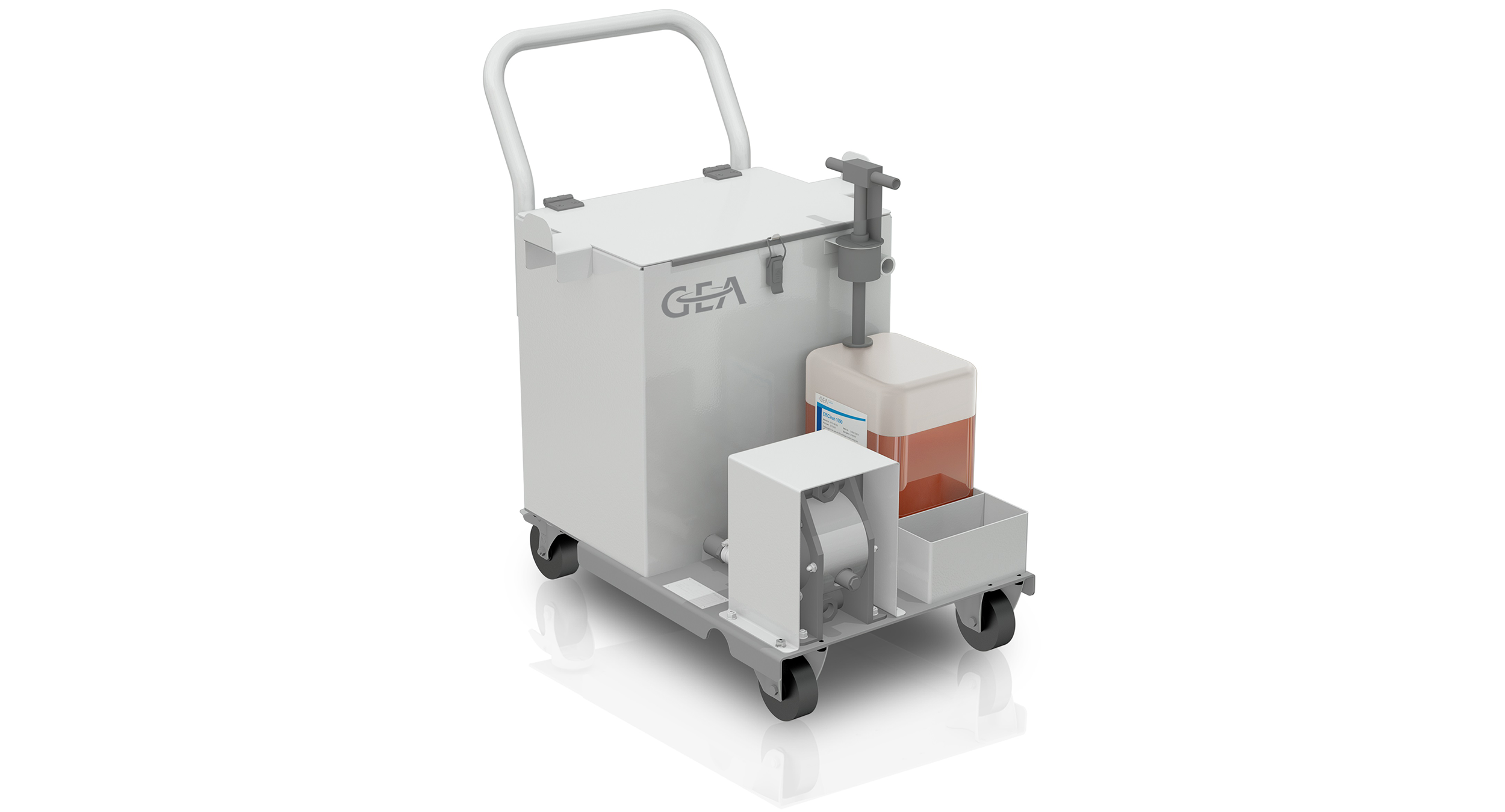 The GEA EffiClean system consists of a cleaning unit and the GEA EffiClean 1090 cleaning agent.