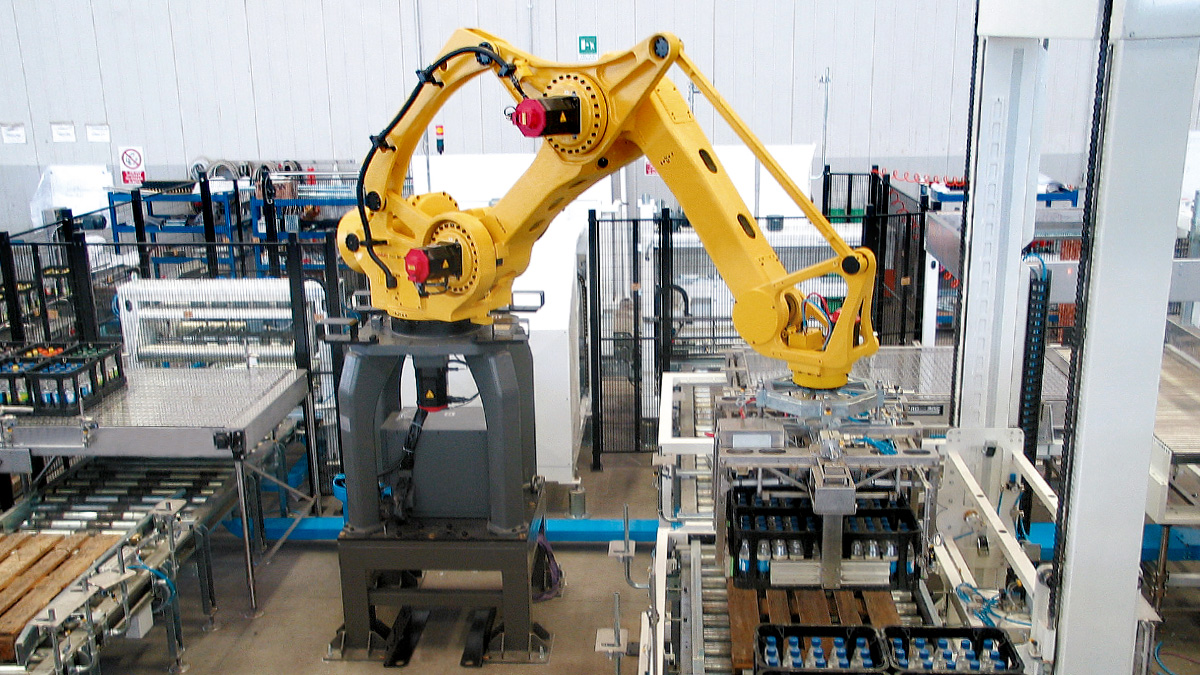 The Fanuc anthropomorphic industrial robot, heart of the robotic isles Omnia