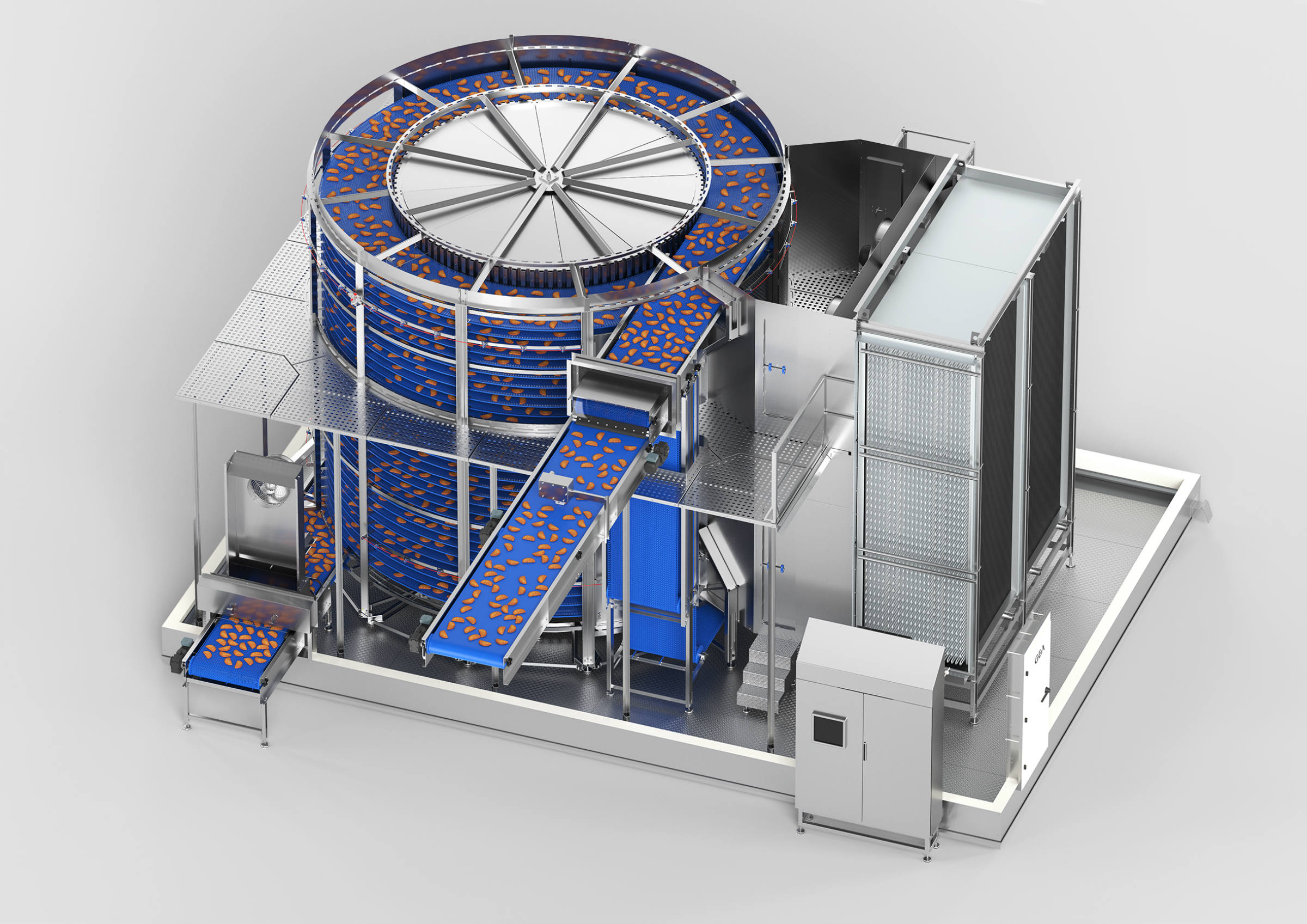 The S-Tec spiral freezer, with CALLIFREEZE®, uniquely provides continuous control of the frozenness of food products. (Photo GEA)