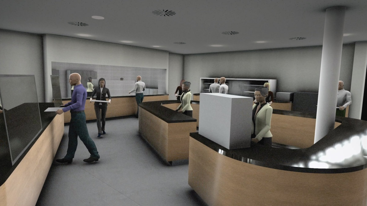 To-scale mannequins allow for the simulation of realistic scenarios in the cafeteria space. (Image: GEA/Dassault Systèmes)
