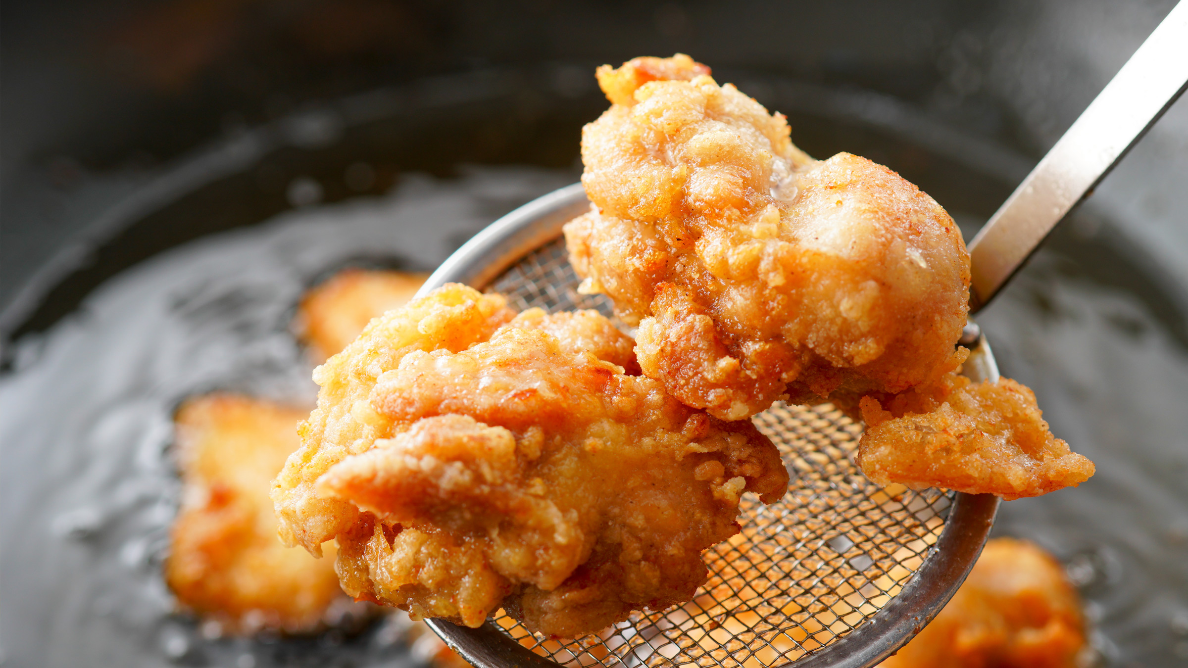 Karaage frying traditional way